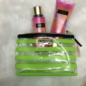 Victoria's Secret Stripe Clear Cosmetic Makeup Bag